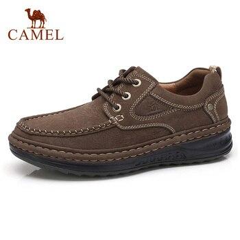 Camel/Мужская обувь из натуральной кожи на осень-зиму, Мужская Уличная Повседневная обувь на шнуровке, нескользящая мужская обувь на толстой п...