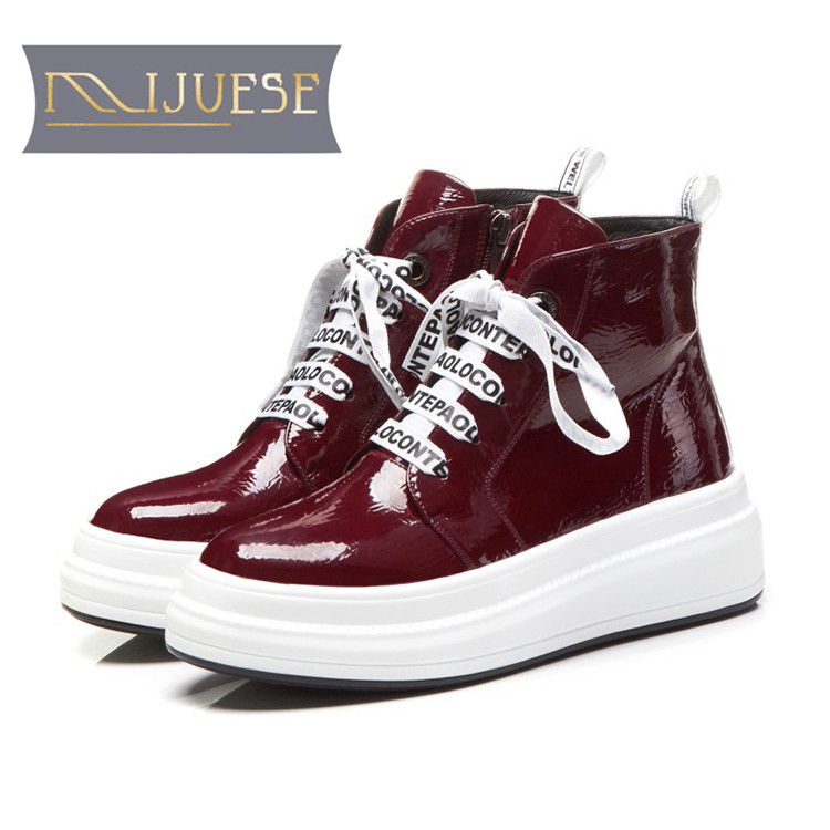 MLJUESE 2019 women ankle boots patent leather lace up wine red winter warm fur boots platform flats women boots size 34-40 lucky lace up long sleeve layered women s wine red romper