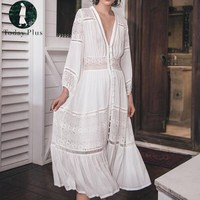 2017 Summer Dress Women Long Dress Boho Beach Bohemia Sexy Party Casual White Lace Patchwork Loose