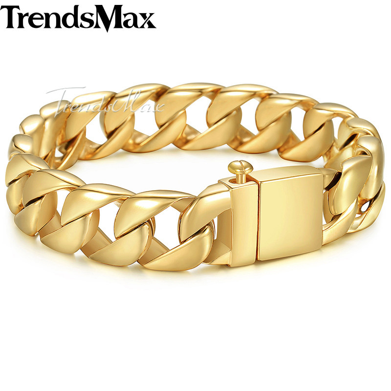 Trendsmax 316L Stainless Steel Bracelet For Men Silver Gold Color Men's Bracelet Curb Cuban Chain Hiphop Jewelry HB123 trendsmax bracelet for men 316l stainless steel curb cuban link chain bracelet totem knot charm wristband men fashion gift hb10