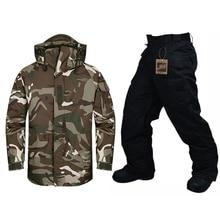 """Новая серия """"Southplay"""" Зимний теплый водонепроницаемый лыжный сноуборд(коричневая военная куртка+ черные брюки) комплекты"""
