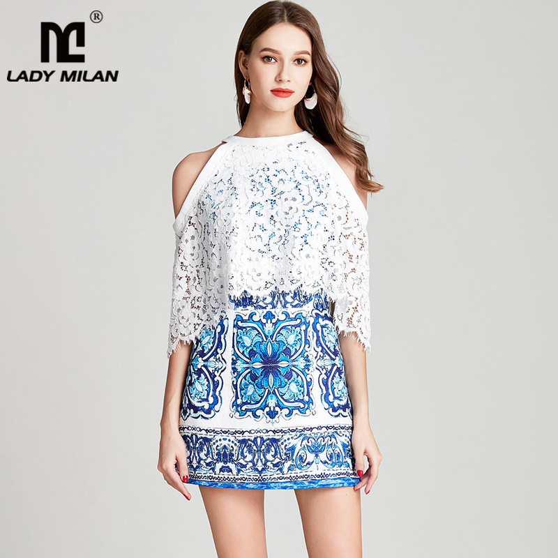 Lady Milan 2018 Womens Halter Embroidery Lace Vintage Printed Sexy Off the Shoulder Fashion Casual Short Runway Dresses