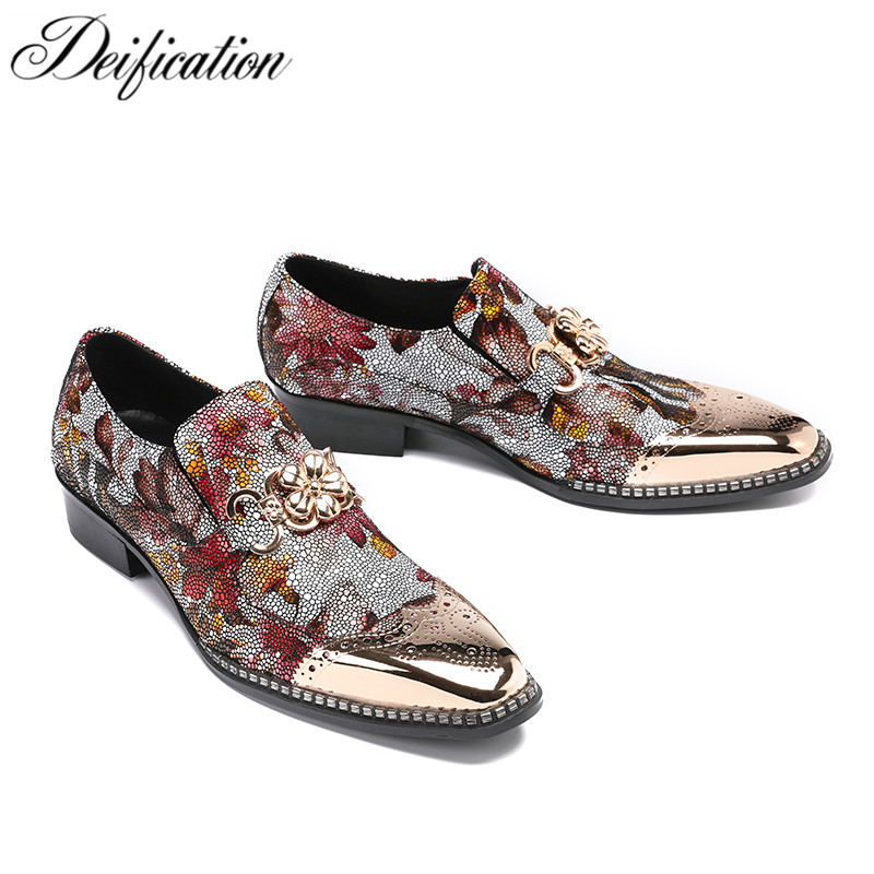 Deification Fashion Print Zapatos Hombre Floral Studded Wedding Shoes Men Dress Shoes Genuine Leather Slip on Casual Men Loafers