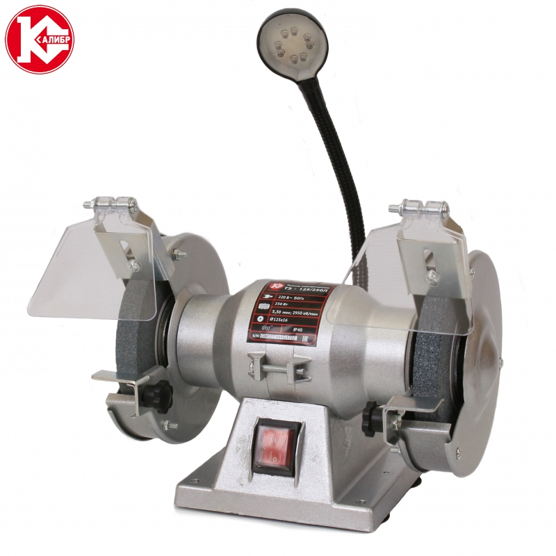 Bench Grinder Kalibr TE-125/250l, Power 250W, kalibr te 125 250l bench multi function electric grinder bench polishing machine small grinding wheel wiht lamp