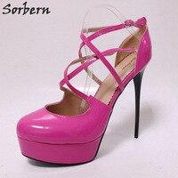 Sorbern Pink Cross Strap Women Pump 15Cm Super High Heels Shoes Ladies Platform Heels Stilettos African Party Shoes 2018 New