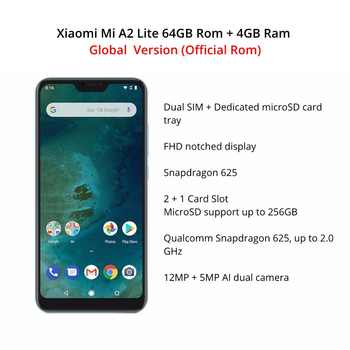 Global Version Xiaomi Mi A2 Lite 64GB ROM 4GB RAM (Black Color only) Official Rom