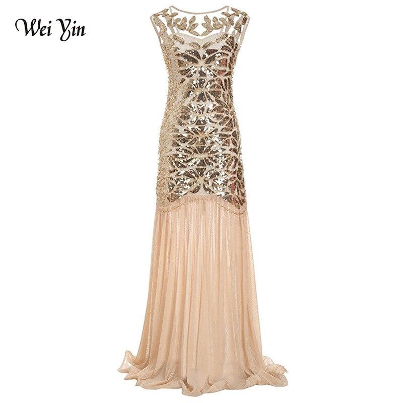Weiyin 2019 luxe sirène robes de soirée dos nu sans manches Sexy formelle cristal perles fête longues robes de bal pour femme