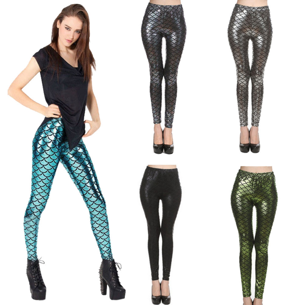 2018 New Top Sale Black Milk Digital Print Women Mermaid Fish Scale Leggings