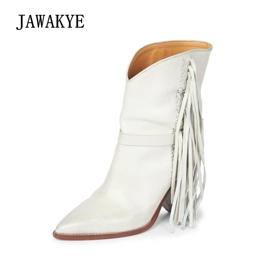 JAWAKYE high heel Tassel Ankle Boots Women Pointed toe White Fringe Winter Shoes Woman Wedges Spike heels Layer Short Boots real photos black red women boots ankle high wedge heels pointed toe shoes woman super high heel wedges short bota feminina