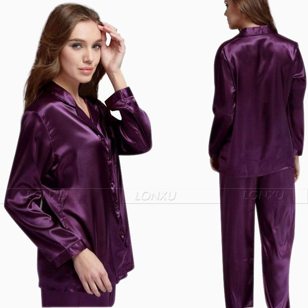 Gift Womens Silk Satin   Pajamas     Set     Pajama   Pyjamas   Set   PJS Sleepwear Loungewear S,M,L,XL,2XL,3XL Solid Plus