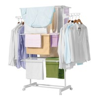 Drying rack linnen's Vertical Folding. 3 Levels Doubles plus 2 Side Wings. Drying rack Compact with wheel castors