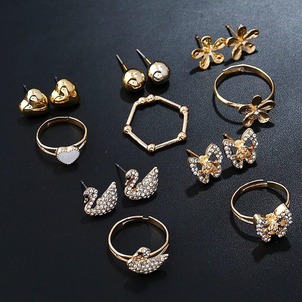 Women Star Moon Key Lock Ear Studs Earrings Finger Ring Fashion Jewelry Set Gift For Women