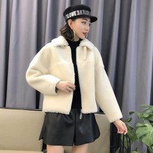Woman Fashion Granular Wool Short Coat Imitation Leather Bat Sleeves Fur Buckle Lapel Collar Zipper Jacket Winter Female New free shipping winter girl fashion coat imitation fur leather jacket to collect waist round collar