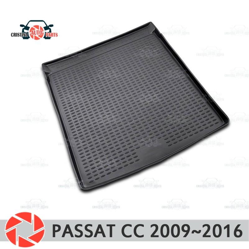 Tapis de coffre pour Volkswagen Passat CC 2009 ~ 2016 tapis de sol de coffre antidérapant polyuréthane protection contre la saleté intérieur coffre style de voiture