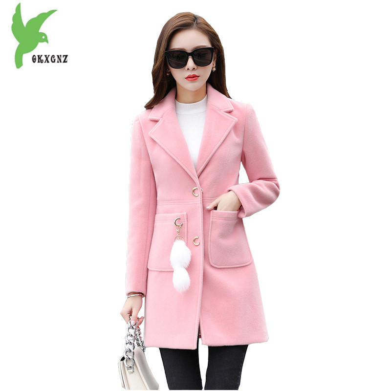 Windbreaker Womens Autumn Winter Woolen Jackets Fashion Solid color Woolen cloth Outerwear Quilted cotton Warm Coats OKXGNZ1551