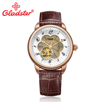 Gladster Casual Fashion Mens Watches Mechanical Watch Push Button Hidden Clasp Leather Band Man Wrist Watch Gentleman Clock
