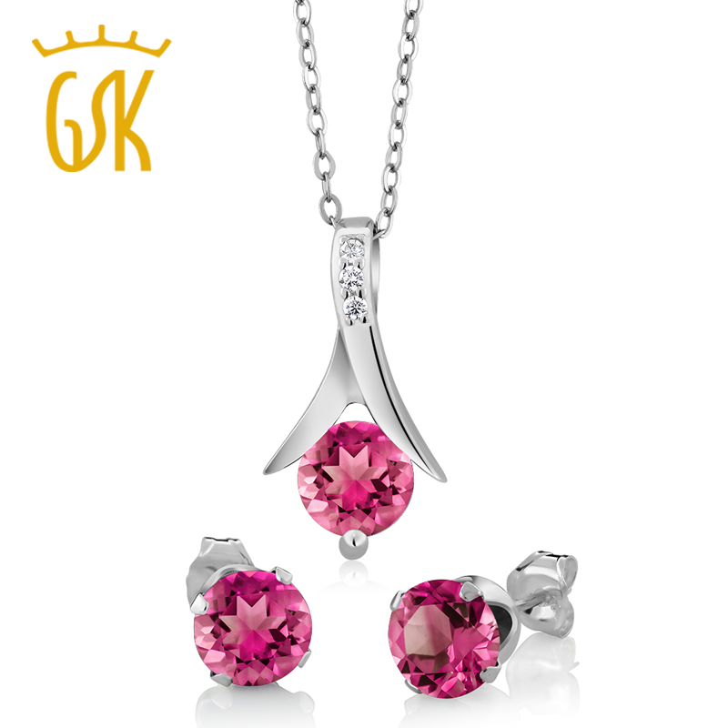 GemStoneKing 2 25 Ct Round Mystic Pink Topaz Pendant and Earrings Set 18 Chain Solid 925
