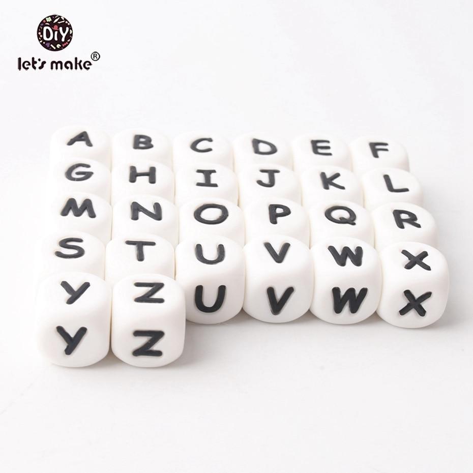 100 pc Contas Letra Do Alfabeto de Silicone de Grau Alimentício Para Carta Mordedor Bpa Silicone Dentição Colar Em Letras 26 Deixar's Fazer