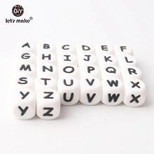 100pc Silicone Beads Alphabet Letter Food Grade For Teething Necklace In 26 Letters BPA Free Silicone Letter Teether Let's Make(China)