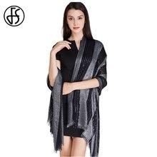 FS Sequin Maxi Viscose Blanket Shawl Scarf Luxury Brand Long Scarves Women Wraps Bandana Echarpe Foulard Pashmina Black Silver
