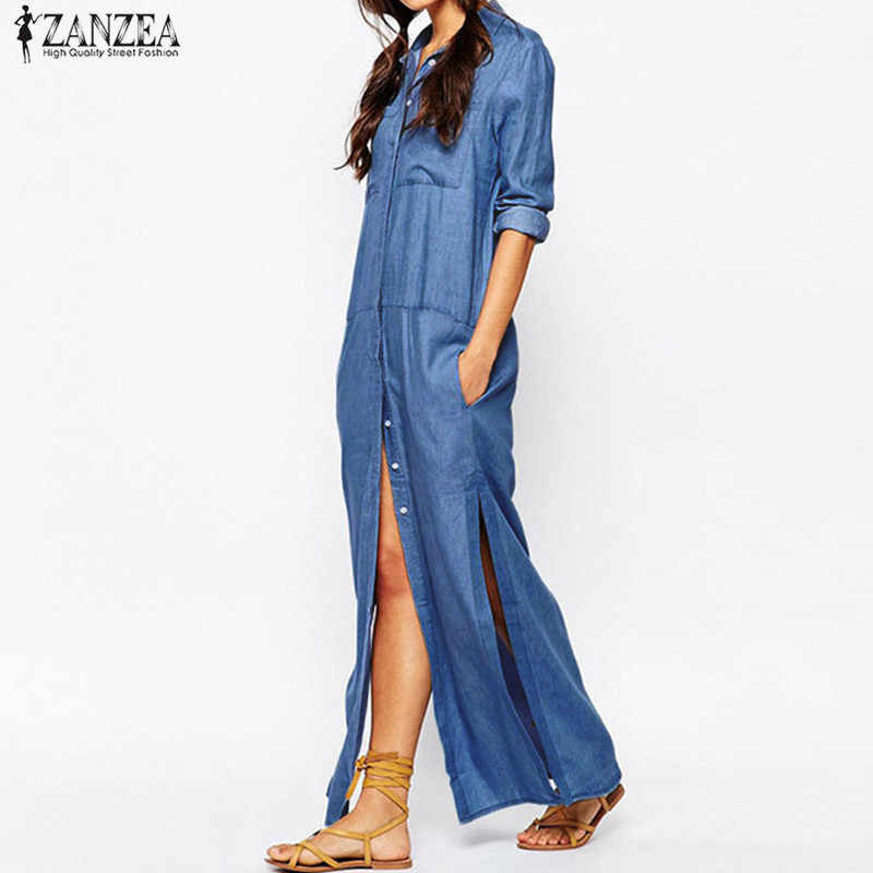 Plus Size ZANZEA Fashion Women Denim Blue Turn-down Collar Maxi Long Shirt  Dress Casual Full Sleeve Loose Split Vestido 2019