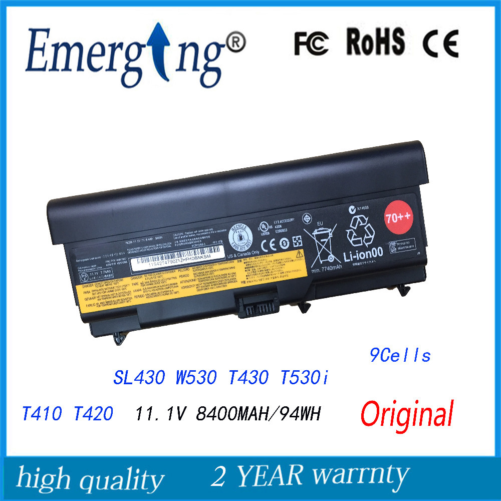 11.1 v 94WH 9 Cellules Batterie D'origine Pour Ordinateur Portable pour Lenovo thinkpad SL430 W530 45N1006 45N1007 T430 T530i T410 T420