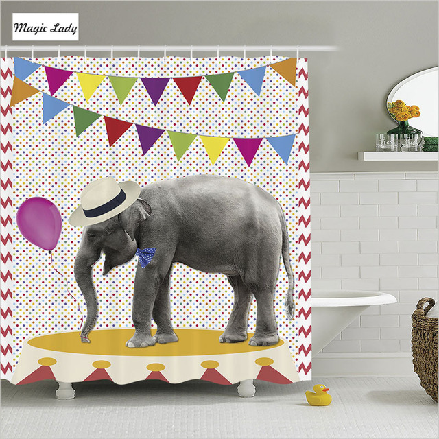 Shower Curtain Elephant Bathroom Accessories Party Hat Funny Festival  Balloon Flags Decoration White Home Decor 180