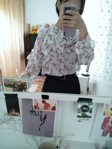 Spring Basic Shirts Blouses Women Japan Preppy Styel Cute Sweet Girls Black White Floral Printed Ruffled Bow Tie Top Shirt photo review
