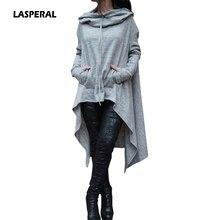 Lasperal 2017 Для женщин зимние Повседневное Нерегулярные футболка с длинным ничья строка толстый Топы корректирующие с капюшоном пот роковой дамы длинный пуловер верхняя одежда