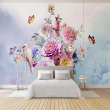 Hand-painted vintage rose parrot TV background wall custom high-end mural factory wholesale wallpaper mural photo wall hand painted tropical rainforest plantain wall custom high end mural factory wholesale wallpaper mural photo wall