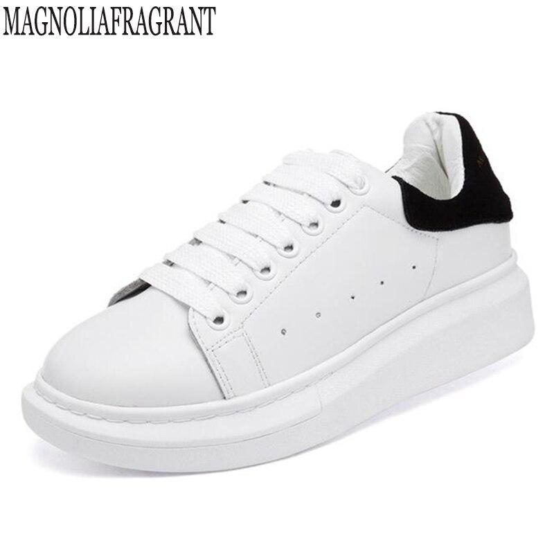 Planas Grandes sapatos de Tamanho mulher Primavera Outono Sapatilhas de Couro Genuíno Sapatas Das Mulheres Brancas de Moda Lace-up Sapatos de Plataforma Para mulheres c261