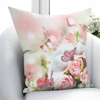 Innego różowy biały róże kwiaty kwiatowe motyl natura 3D drukuj rzuć poszewka na poduszkę poduszka kwadratowa ukryty zamek błyskawiczny 45x45 cm w Poszewka na poduszkę od Dom i ogród na