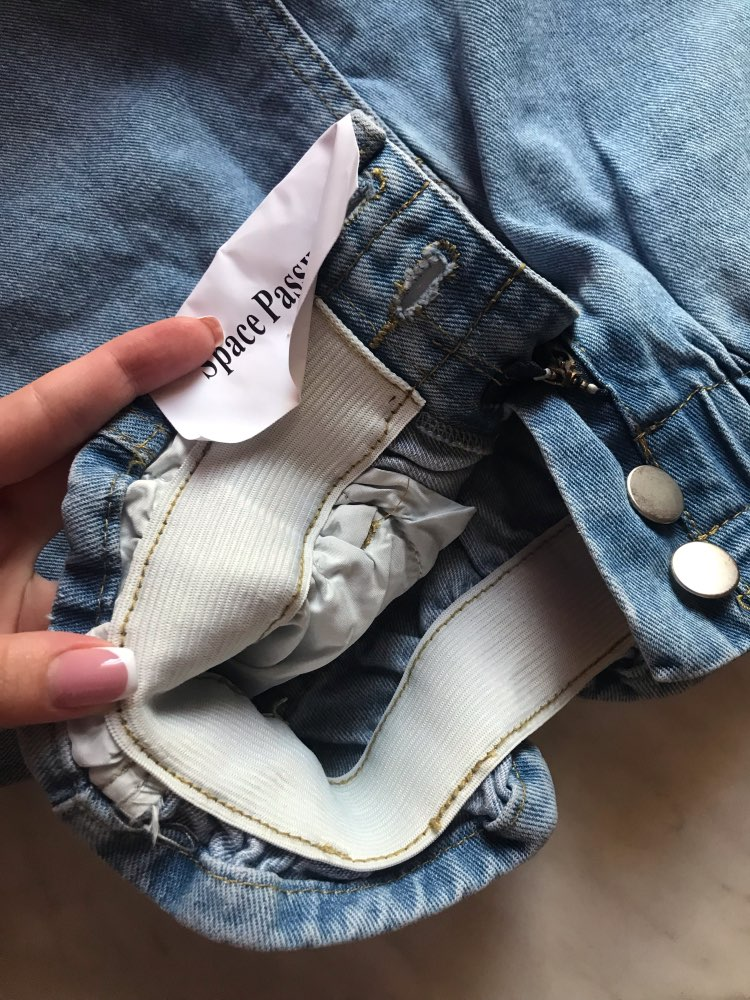 Summer High Waist Denim Shorts Women Casual Loose Ladies Fashion Roll Up Hem Elastic Waist Pocket Blue White Jeans Female photo review