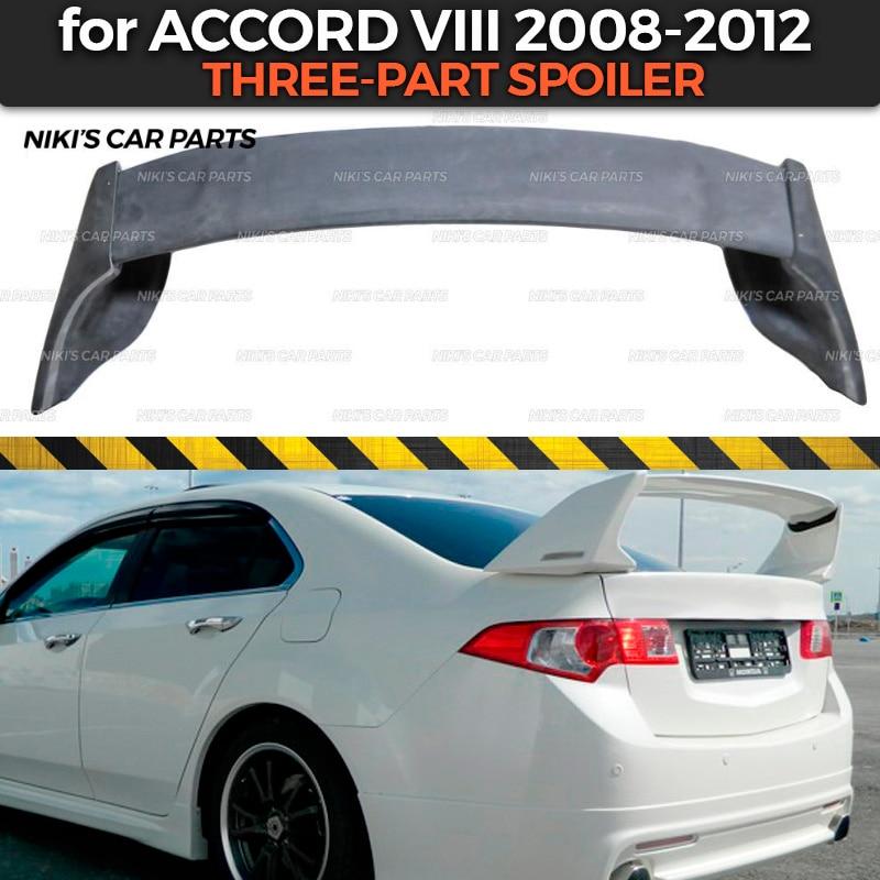 Spoiler three part case for Honda Accord VIII 2008 2012 ABS plastic aero wing dynamic molding