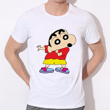2016 Summer Men Top Funny T shirt Cute Crayon Shin Chan and dog Cartoon Tee Harajuku Tops