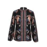 Модные женские туфли Осень Boho рубашка с длинными рукавами дамы повседневное цветочный блузка топы свободного покроя водолазка