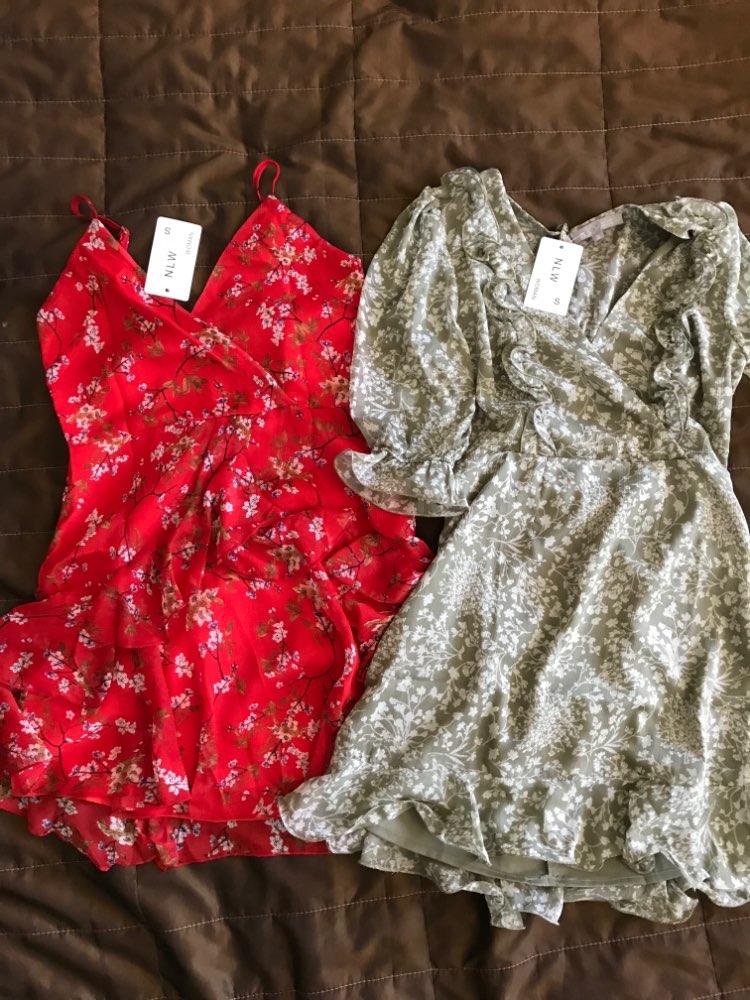 Elegant Red Print Short Dress Women Summer Sexy Strap V Neck Backless Dress Holiday A Line Bow Chiffon Dress Vestidos photo review