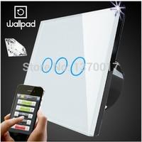 Wallpad White Crystal Glass 3 Gangs Touch Wifi Wall Light Switch Waterproof Wireless Remote Control Light