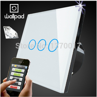 Wallpad White Crystal Glass 3 Gangs Touch Wifi Wall Light Switch Waterproof Wireless Remote Control Light