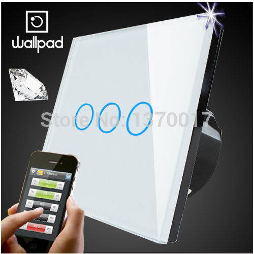 Wallpad White UK Type Glass 3 Gangs Touch Wifi Wall Light Switch,Waterproof Wireless Remote Control light switch,Free Shipping 2017 free shipping smart wall switch crystal glass panel switch us 2 gang remote control touch switch wall light switch for led