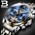 BINGER Edelstahl Uhren Männer Luxusmarke Tourbillon Automatische Leucht Mehrere Funktionen Mechanische Armbanduhren 2017-in Mechanische Uhren aus Uhren bei