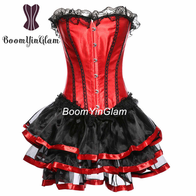 036 Free shipment red and black color lace up corset top slimming waist corset with mini skirt SizeS-6XL