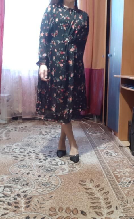 Spring Summer New Hot Women Print Pleated Chiffon Dress  Fashion Female Casual Flare Sleeve Lotus Leaf Neck Basic photo review