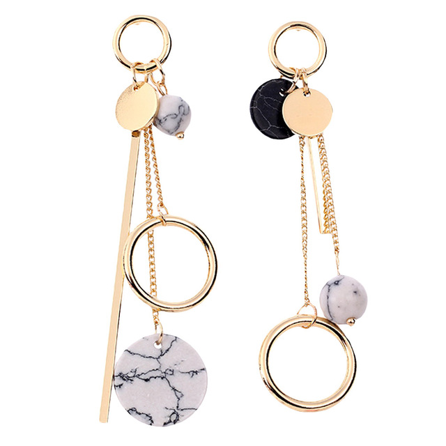 Trendy Design Marble Long Earrings For Women 2017 Round Circle Fashion Jewelry Wholesale Cute Gift