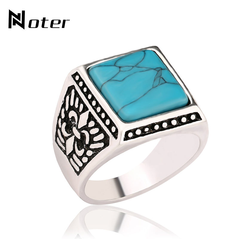 Noter Vintage Ethnic Signet Rings Green Square Resin Mens Finger Ring For Male Jewelry Bague aneis masculino