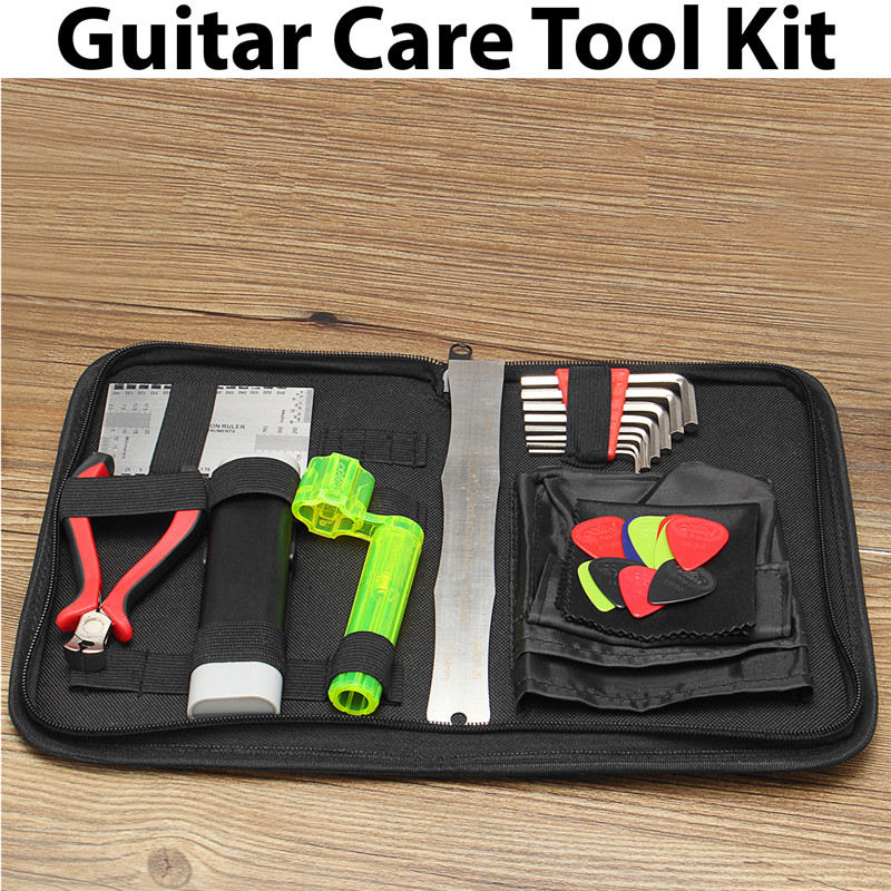 Professional Musicians Guitar Care Tool Full Set Repair Maintenance Tech Kit String Winder String Cutting Pliers Radius Ruler