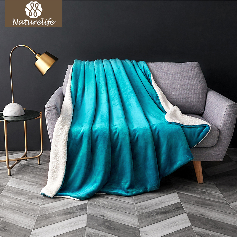 Naturelife Sherpa Double layer Blanket Thick Soft Throw Blanket on Sofa Bed Plane Travel Plaids Adult