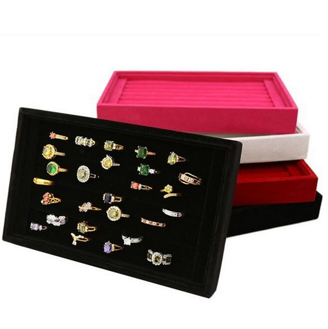 High Quality Velvet Jewelry Tray for Rings Smart Storage with 3 Optional Colors Black Rose Red Grey