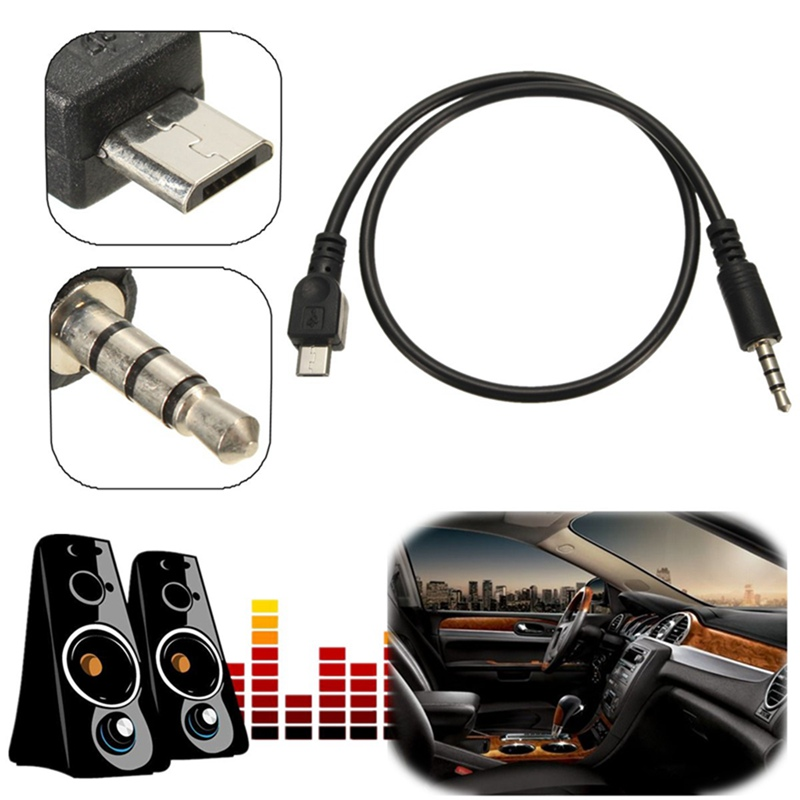 Hot Micro USB 2.0 to 3.5mm AUX Car Lead Jack USB Audio Cable Cord For Samsung For Xiaomi For Mobile Phone Data Cable 40cm