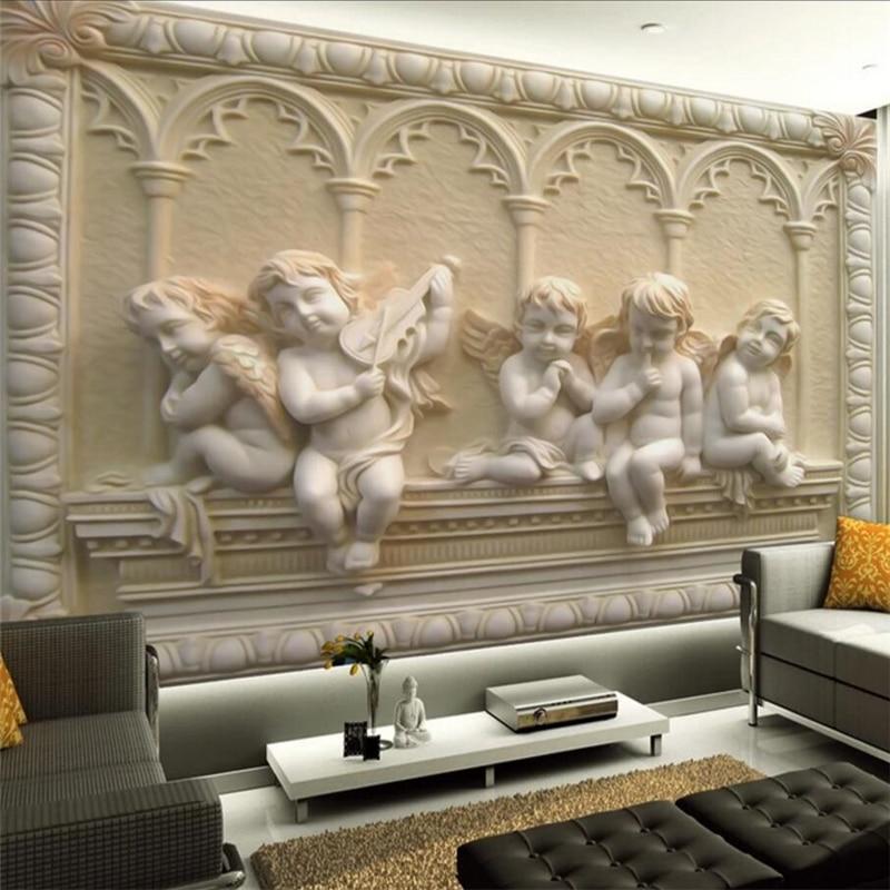 Beibehang Europeu alívio tridimensional pintura mural da parede do anjo do bebê personalizado grande mural papel de parede papel de parede para quarto